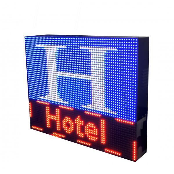 LETRERO LED PROGRAMABLE PARA HOTELES EN RGB, 2 CARAS. DISPONIBLE EN VARIOS TAMAÑOS